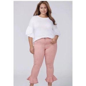Lane Bryant Skinny Crop Ruffle Hem Jeans